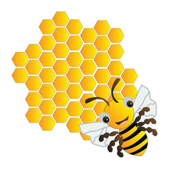 Happy bee and beehive