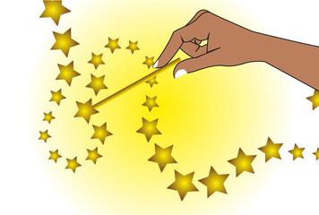 Magic wand holding hand