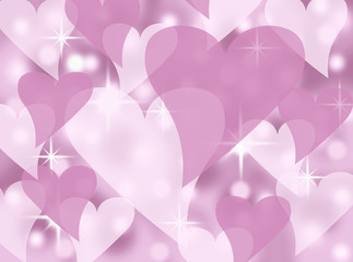 pink white heart valentines background illustration with stars