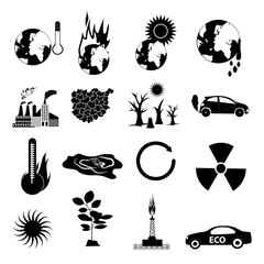 Global warming icons set