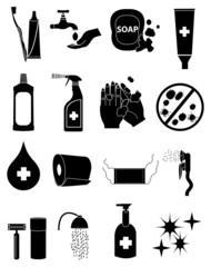 hygiene germs icons set