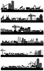 Construction site buildings set