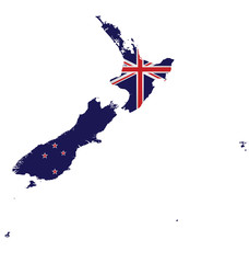 Flag of New Zealand overlaid on detailed map