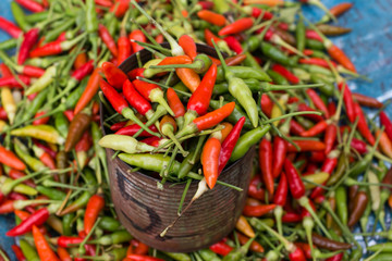 Red peppers on the market