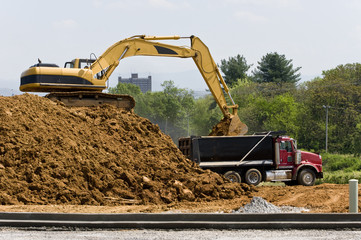 Heavy Construction Equipment With Dump Truck