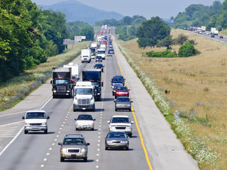 Heavy Highway Traffic On Hot Summer Day