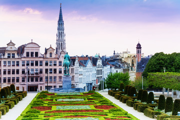 The view of Mont des Arts Garden and city Brussels