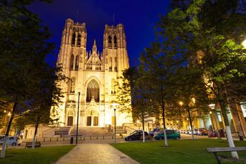 Cathedrale des Saints Michel et Gudule at night