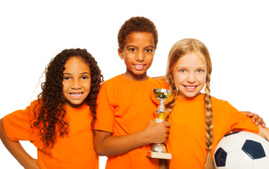 Happy diverse kids winners of soccer games