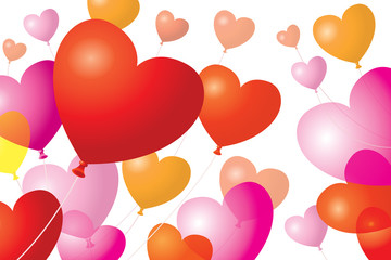 Heart-Shaped Balloons Background