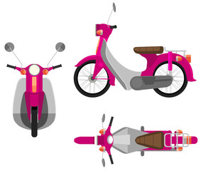 A pink motor vehicle