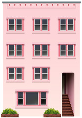 A tall pink building