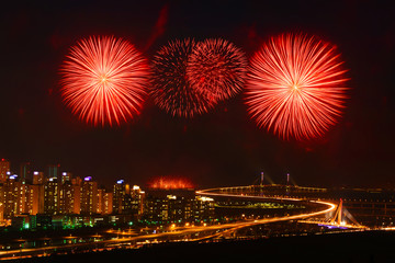 Incheon bridge and Firework display