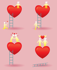 Human Symbol Love Story with Ladder