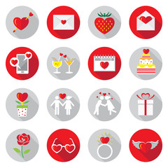 Flat Icons Set : Love Objects
