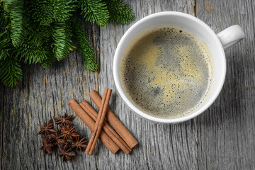 Coffee and Cinnamon and Anise Star for the Holidays with Christm
