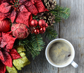 Coffee with Christmas Holiday Decorations