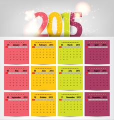 Calendar for 2015. Vector EPS10.