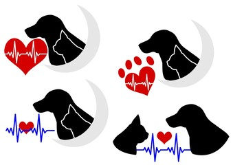 心電図つき犬と猫のシルエット