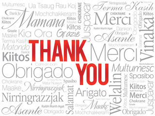 Red Thank You Word Cloud in vector format