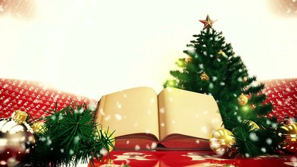 snow falls over the Christmas tree and over the open book