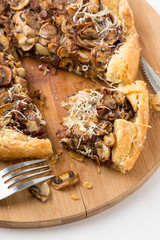 delicious mushroom pizza on cutting board