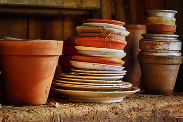 old nostalgic pots and pans still-life concept