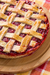 delicious cranberry and apple pie with rest