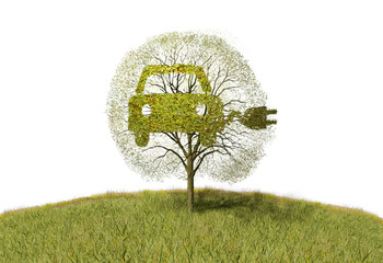 symbol electricity car on tree