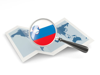 Magnified flag of slovenia with map
