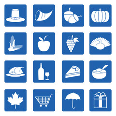 Thanksgiving day symbols icons set