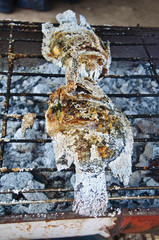 Salt fish grilled on charcoal
