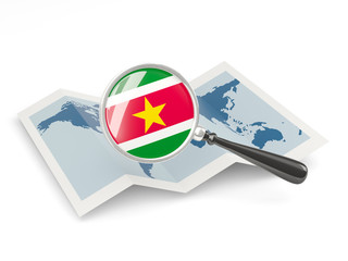 Magnified flag of suriname with map