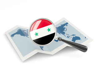 Magnified flag of syria with map