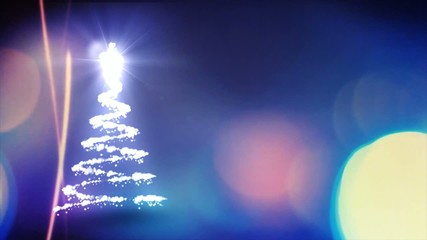 Christmas tree animation with colorful background