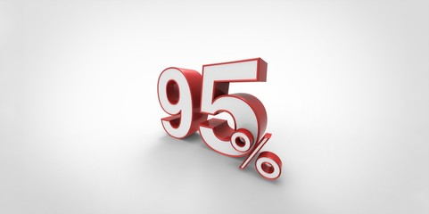 3D rendering of a red and white 95 percent letters
