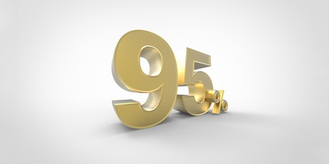 3D rendering of a gold 95 percent letters on a white background