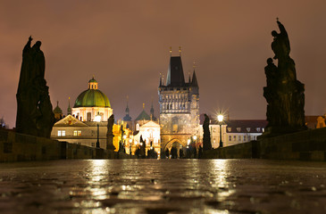 Charles Bridge in the rain