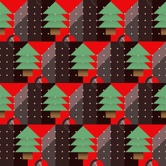 Christmas tree pattern with a dial on a red background