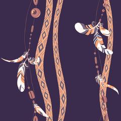 Dreamcatcher feathers vector background pattern