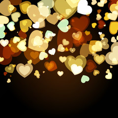 Shiny background with abstract glowing hearts. Vector holiday ba