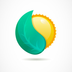 Vector logo design template. Glossy sun with green leaf. Design