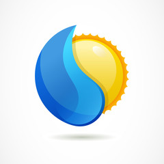 Vector logo design template. Glossy sun with clean water drop. D