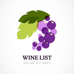 Vector logo design template. Branch of grape with leaves