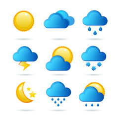 Glossy weather icon set. Vector illustration. Meteorology symbol