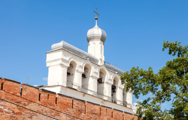 Bell tower of St. Sophia Cathedral in Velikiy Novgorod, Russia