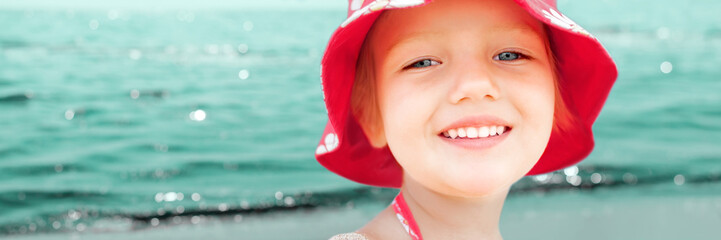 child girl closeup sea summer vacations panorama background