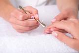 client and manicurist in manicure salon poster
