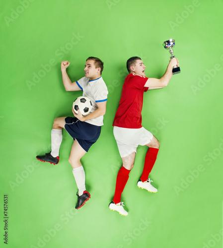 Celebrating football players