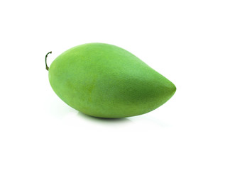 raw mango with stem on white